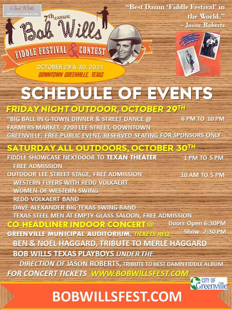 Bob Wills Schedule
